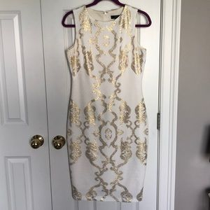 Jax off white and gold design dress